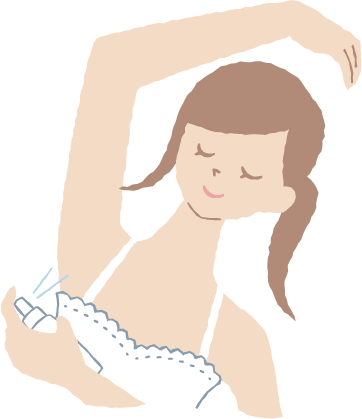 Spray the under arms and delicate area